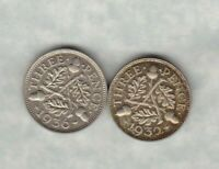 TWO 1932 & 1936 GEORGE V SILVER THREEPENCE COINS IN NEAR MINT CONDITION
