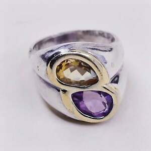 sz 6.25, IS 14K gold trim with sterling 925 silver ring and citrine N amethyst