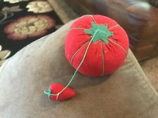 Vintage Tomato Pin Cushion with Needle Sharpening Strawberry