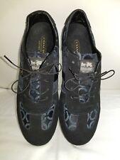 Coach JOSS Logo Nylon Leather Black Sneakers Tennis Shoes Womens Size 8M