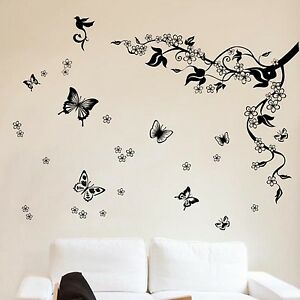 Butterflies Vine WALL DECAL Stickers Home Improvement Accessories Room Vinly