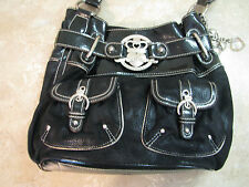 KATHY VAN ZEELAND Black Faux Leather PATENT & SUEDE PURSE Silver W/CHARMS Large