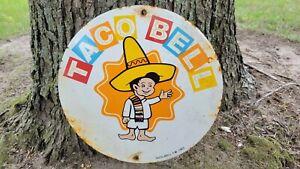 VINTAGE OLD TACO BELL PORCELAIN RESTAURANT FAST FOOD HEAVY METAL SIGN