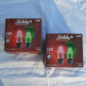 4-Feit Electric Holiday Red+Green A19 LED Light Bulbs-2-PACKS