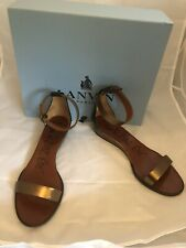 Lanvin 2012 Ete single strap bronze leather small wedge ankle strap sandals 40