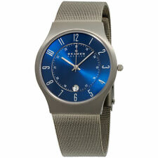 Skagen 233XLTTN Men's Watch Blue Dial Titanium Stainless Steel Mesh