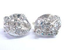 Fine Old European & Round Cut Diamond Milgrain White Gold Earrings 14KT 3.00Ct