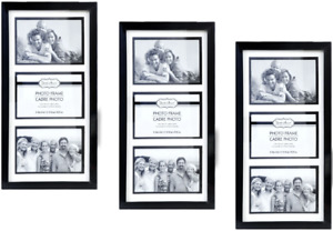 """4x6 Photo Black 3-Picture Collage Frame 3 Pack Glass Pane Wall Mount 15""""x8"""""""