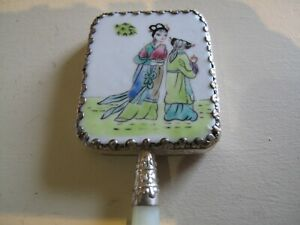 ANTIQUE CHINESE SMALL HAND PAINTED SILVER AND JADE HAND MIRROR