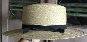 Old Straw Boater Skimmer Hat Size 7 1/8 Vintage Barber Shop Black Ribbon