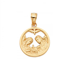 14K Solid Yellow Gold Baptism Medal Pendant -Round Necklace Charm Baby Women Men