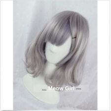 US Women Harajuku Lolita Wig Smoke Grey Full Long Cruly Hair Short Cosplay Wigs