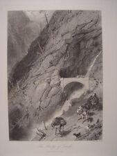 Suiza. «The Bridge of Gondo» Pintó Birket Foster (1825-1899). Grabó James Stephe