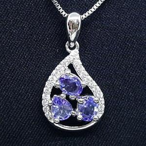 World Class 1.60ctw Tanzanite & Diamond Cut White Sapphire 925 Silver Pendant