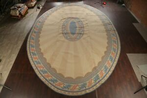 Geometric Light Beige Palace Oval 19x28 Savonnerie Hand-hooked Area Rug Wool