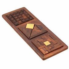 Unique Toys 3 in 1 Wooden Blocks Jigsaw Puzzles IQ Brain Teasers Montessori game