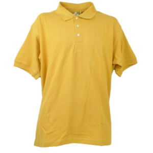 Red Jacket Collar Polo Button Dress Shirt Mens Adult Yellow Short Sleeve Cotton