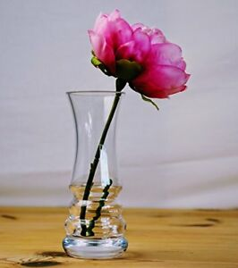 Clear Glass Ribbed Design Flower Posy Bud Vases | Hand Crafted - 3 Choice sizes