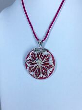 Pink Shell Pendant with Pink Silk Cord Sterling Silver.  Shell has pink sparkles
