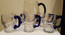 Vintage Clear Pitcher + 5 Mugs Honeycomb Georgian Style with Cobalt Handles!