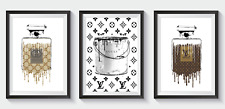 More details for set of 3 fashion art prints designer coco perfume bottle glitter a5 a4 a3 s31