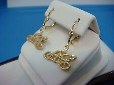 ! UNUSUAL 14K YELLOW GOLD BICYCLE DANGLE LEVER BACK EARRINGS 4.4 GRAM