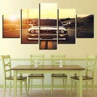 Sports Car Sunset Landscape 5 Pieces canvas Wall Art Picture Poster Home Decor
