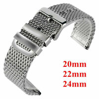 20/22/24mm Bracelet Wrist Band Watch Strap Solid Link Stainless Steel Mesh Men
