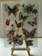 Butterfly and Flowers  Silicon Transparent Stamp Seal  Cards