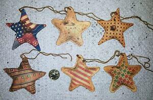 6~Primitive~Patriotic~Star~Fussy Cut~Linen Cardstock~Gift~Hang~Tags~Ornies