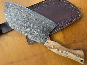 Brussel Rare Handmade Damascus Steel Olive Wood Hunting Clever Chopper Axe Knife