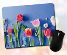 Flower Mouse Pad • Tulip Floral Arrangement Pretty Gift Decor Desk Accessory