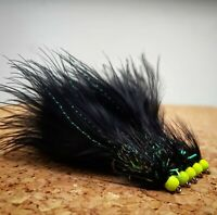 Chartreuse Hothead Black Woolly Bugger size 12 (Set of 3) Fly Fishing Flies
