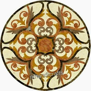 24 Inches Marble Coffee Table Top Inlay Home Center table with Yellow Stone Work