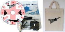 DIY CD Clock KIT of RAF Vulcan Bomber in small canvas gift bag with Vulcan Motif