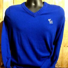 Abercrombie and Fitch Cashmere Blend Sweater sz XL Blue V Neck Muscle Fit
