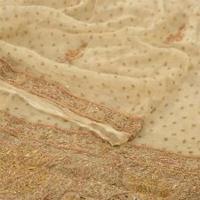 Sanskriti Vintage Heavy Dupatta 100% Pure Chiffon Silk Cream Hand Beaded Stole