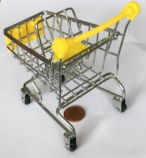 Metal & Yellow Plastic Shopping Trolley Cart With A Baby Seat Tumdee Dolls House
