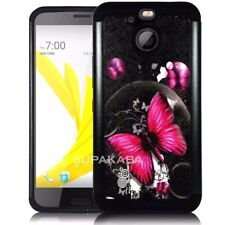 For HTC BOLT / 10 EVO Shockproof Rubber Hard Dual Layer Protective Case Black
