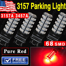 4PCS Pure Red Led Parking Light 3157 68 SMD 3157A 4157NA 3457A LED Light bulbs