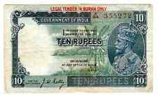 BURMA BRITISH INDIA 10 RP 1937 ELEFANT P 2 a