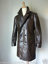 Pegasus Gangster Trench Over Coat Horsehide Leather Motorcycle Jacket Vintage