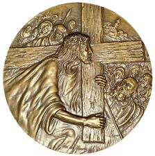 RELGIOUS/ JESUS CHRIST IN THE CROSS/EXTRAORDINARY BOTH SIDES/BRONZE MEDAL / M18b