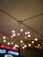 SATIN / BRUSHED BRASS SPUTNIK STARBURST LIGHT FIXTURE CHANDELIER BULBS INCLUDED