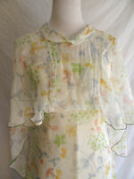 Vintage 60's Sheer Floral Sketch Chiffon Boho Hippie Festival Maxi Dress Shawl