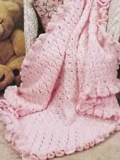 NEW HAND CROCHET PRETTY IN PINK BABY BLANKET AFGHAN