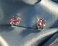 PETITE 4MM ROUND PINK SAPPHIRE STERLING SILVER  STUDS