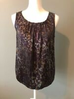 Ann Taylor Loft Womens Blouse Size S Brown Scoop Neck Animal Print Pleated
