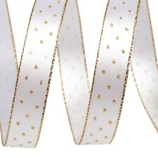 Satin Ribbon Width 20mm x 3 Metres Double Faced Sided Gold Polka Dots Edge
