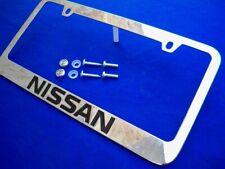 Licensed NISSAN Engraved Letters Chrome Zinc License Plate Frame w/ Logo Caps #2